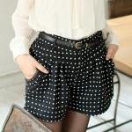 [Preorder] กางเกงขาสั้นแฟชั่นลายจุดพร้อมเข็มขัดหนังเก๋ๆ สีดำ Color little butterfly knot woolen shorts + belts