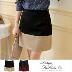 [Preorder] กระโปรงทำงานแฟชั่นสั้นซิปข้าง สีดำน้ำตาลอ่อน Color woolen skirt camel