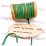 เชือกหนังแบน กว้าง 3 mm หนา 2 mm ราคาต่อ 1 หลา - โทนสีเขียวใบไม้