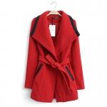 [Preorder] เสื้อแจ๊กเก็ตกันหนาวแฟชั่นแขนยาวสไตล์ยุโรป สีแดง (ไซส์ S M L XL) European Grand Prix 2014 winter new women's cotton big village PU leather stitching lapel wool coat windbreaker jacket