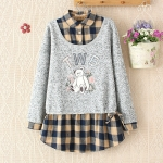 [Preorder] เสื้อกันหนาวแขนยาวสองชิ้นติดกันด้านในลายตาราง สีน้ำเงิน 2014 new winter blouses Japanese Bear sweater fake piece plaid shirt female sweater