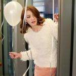 [Preorder] เสื้อกันหนาวขนสัตว์แขนยาวแฟชั่น สี Apricot The warm Korean series plush shirt