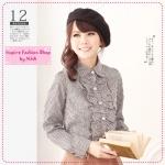 [Preorder] เสื้อเชิ๊ตแฟชั่นแขนยาวลายตารางสีดำขาว lotus leaf collar Plaid shirt (2 colors)