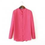 [Preorder] เสื้อแฟชั่นแขนยาว สีบานเย็น (ไซส์ S M L) 2014 autumn before new European style big fashion ladies long and short-sleeved shirt solid color chiffon collar women