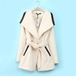 [Preorder] เสื้อแจ๊กเก็ตกันหนาวแฟชั่นแขนยาวสไตล์ยุโรป สีเบจ (ไซส์ S M L XL) European Grand Prix 2014 winter new women's cotton big village PU leather stitching lapel wool coat windbreaker jacket
