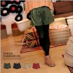 [Preorder] กางเกงขาสั้นแฟชั่นประดับหนังเทียมตรงกระเป๋ากางเกงมาพร้อมเข็มขัดหนังเก๋ๆ สีเขียวเข้ม Color belt pocket then fur shorts + belt