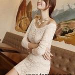 Dress120 - เดรสแฟชั่น เดรสลูกไม้ แขนยาวสีครีม ผ้าเข้ารูป sexy จ้า อก 32-33 ((เดรสแฟชั้นพร้อมส่ง))
