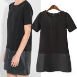 [Preorder] เดรสแฟชั่นแขนสั้นชายหนังเทียมเก๋ๆ สีดำ (ไซส์ S M L) 2014 autumn and winter new European style fashion ladies short-sleeved dress hem straight fight skin twill skirt bottoming