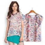 [Preorder] เสื้อแฟชั่นแขนสั้นสไตล์ยุโรป ลายดอกไม้สีชมพู (ไซส์ S M L) 2014 summer new European and American women ZARA drain back fuzzy flower printed chiffon shirt short-sleeved T-shirt blouses