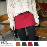 [Preorder] กระโปรงทำงานแฟชั่นสั้นพร้อมเข็มขัดหนัง สีแดง The micro sanding with color belt the fake pocket skirt