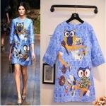 [Preorder] เดรสแฟชั่นแขนสามส่วนปักลายนกฮูกบนกิ่งไม้ สีฟ้า (ไซส์ S M L) South Korean version of the European leg of the European and American fashion week Vicki owl stamp embossed jacquard short-sleeve A Dress