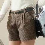 [Preorder] กางเกงขาสั้นแฟชั่นพร้อมเข็มขัดหนังเก๋ๆ สีกาแฟ Blending discount woolen pocket shorts + belt