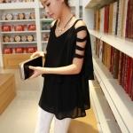 [Preorder] เสื้อแฟชั่นแขนกุดเปิดไหล่เปิดแขน สีดำ 2014 summer new Korean Women elegant small sexy strapless chiffon blouse with double thin women