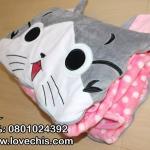 หมอนผ้าห่มแมวจี้ 3 / 5 ฟุต สีชมพู (เลือไซด์ที่ต้องการ)