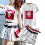 [Preorder] เสื้อยืดแฟชั่นแขนสั้นสีขาวลาย Monroe + กางเกงขาสั้นลายทาง (ไซส์ S M L) European Grand Prix 2014 summer new two-piece women's fashion Monroe printed T-shirt + striped pants suit