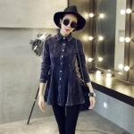 [Preorder] เสื้อเชิ๊ตแขนยาวแฟชั่นกำมะหยี่เข้ารูปชายบาน สีน้ำเงิน (ไซส์ M L) 2014 new winter clothes grapefruit US lapel Korean women long-sleeved shirt Slim corduroy