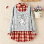 [Preorder] เสื้อกันหนาวแขนยาวสองชิ้นติดกันด้านในลายตาราง สีแดง 2014 new winter blouses Japanese Bear sweater fake piece plaid shirt female sweater