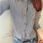 **หมดค่ะ Top001-เสื้อแฟชั่นเกาหลี เสื้อเชิ้ตแฟชั่น ลายสก๊อต สีฟ้ายีน