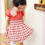 เดรสแขนสั้นลายตารางสีแดง 2012 new Korean summer girls dresses, short sleeve skirt checkered skirt