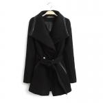 [Preorder] เสื้อแจ๊กเก็ตกันหนาวแฟชั่นแขนยาวสไตล์ยุโรป สีดำ (ไซส์ S M L XL) European Grand Prix 2014 winter new women's cotton big village PU leather stitching lapel wool coat windbreaker jacket