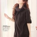 [Preorder] เดรสแฟชั่นแขนสามส่วน สีดำ autumn and winter Taiwan lapel bristles dress