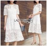 Dress เชิ้ตเดรสผ้าลูกไม้สีขาว