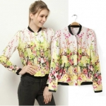 [Preorder] เสื้อแฟชั่นแขนยาวลายดอกไม้สีหวาน (ไซส์ S M L) 2014 spring and summer flowers in Europe and America new positioning printed Collar flight jacket zipper jacket sun protection clothing thin female models
