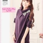 [Preorder] เดรสแฟชั่นแขนสามส่วน สีม่วง autumn and winter Taiwan lapel bristles dress