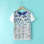 [Preorder] เสื้อแฟชั่นแขนสั้นสไตล์ยุโรป แบรนด์ LILY สีฟ้า (ไซส์ S M L) LILY 2014 summer four Boxia installed new counter genuine purchasing short-sleeved T-shirt