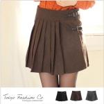 [Preorder] กระโปรงทำงานแฟชั่นสั้นพลีทด้านหน้า สีน้ำตาล The leather straps woolen pleated skirt
