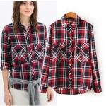 [Preorder] เสื้อเชิ๊ตแฟชั่นแขนยาวลายตาราง สีแดงดำ (ไซส์ S M L) Europe station 2014 new fall fashion ladies woven plaid long-sleeved shirt shirt female