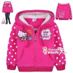 [Preorder] เสื้อแจ๊กเก็ตกันหนาวแขนยาวเด็ก Hello Kitty สีชมพูบานเย็น The children installed new Korean girls cotton-padded clothes cotton-padded jacket coat padded Minnie kitty bunk velvet