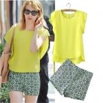 [Preorder] เซ็ทเสื้อแขนสั้นสีเหลือง + กางเกงขาสั้น (ไซส์ S M L XL) 2014 summer new European and American fashion ladies lotus sleeve chiffon shirt shirt printing T-shirt + shorts leisure suits
