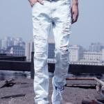 กางเกงยีนส์ขาดๆสีขาวแฟชั่น