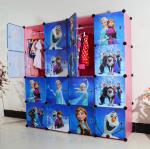 สีชมพู : ตู้ DIY ลายการ์ตูน Frozen มีหลายขนาด 6,8,9,12,16 ช่อง พลาสติกหนา รับน้ำหนักได้ช่องละประมาณ 10-15 กิโลกรัม