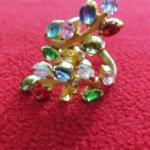 สินค้าหมดค่ะ แหวนพลอย7สี รูปดอกไม้ ทองเหลืองแบบ1ค่ะ