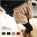 [Preorder] กางเกงขาสั้นแฟชั่นประดับหนังเทียมตรงกระเป๋ากางเกงมาพร้อมเข็มขัดหนังเก๋ๆ สีกากี Color belt pocket then fur shorts + belt