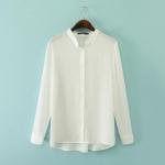 [Preorder] เสื้อแฟชั่นแขนยาว สีขาว (ไซส์ S M L) 2014 autumn before new European style big fashion ladies long and short-sleeved shirt solid color chiffon collar women