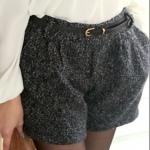 [Preorder] กางเกงขาสั้นแฟชั่นพร้อมเข็มขัดหนังเก๋ๆ สีดำ Blending discount woolen pocket shorts + belt