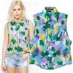 [Preorder] เสื้อเชิ๊ตแฟชั่นแขนกุด แบรนด์ ASOS ลายต้นมะพร้าว (ไซส์ S M L) ASOS MICN new women's European Vacation Station palm graffiti shirt blouses sleeveless shirt vest