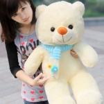 ตุ๊กตาหมียิ้มใส่ผ้าพันคอ ขนาด 1 เมตร ผ้าพันคอ สี ฟ้า