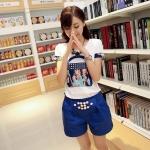 [Preorder] เซ็ทเสื้อแขนสั้นสกรีนลายเก๋ๆ + กางเกงขาสั้นเอวยืด สีน้ำเงิน (ไซส์ M L XL) 22014 new Korean female summer fashion women's sports and leisure T-shirt Slim pants piece fitted