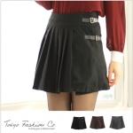 [Preorder] กระโปรงทำงานแฟชั่นสั้นพลีทด้านหน้า สีดำThe leather straps woolen pleated skirt