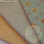 เซตผ้าฝ้ายโทนสีฟ้า-ครีม (1/8 หลา ) 3 ชิ้น