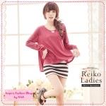 [Preorder] เดรสแขนกุดกระโปรงลายขวาง + เสื้อแขนยาวเก๋ๆ สีชมพู autumn and winter Taiwan cotton T + striped dress