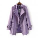 [Preorder] เสื้อโค้ทกันหนาวแฟชั่นแขนยาวสไตล์ยุโรป สีม่วงอ่อน (ไซส์ S M L XL) Cotton Village Station 2014 fall new European fashion ladies solid color simple oblique zipper sweater coat jacket women