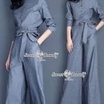 ชุดเซ็ทเสื้อ+กางเกง ผ้ายีนส์ ลายทางริ้วสีน้ำเงินขาว