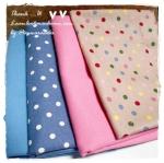 MARCH58Pack16 : ผ้าจัดเซตผ้าพื้น+ผ้าลายจุด คอตตอน 4 ชิ้น ขนาดผ้าแต่ละชิ้น 25-27 X 45-50cm