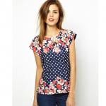 [Preorder] เสื้อแฟชั่นแขนสั้นสไตล์ยุโรป ลายจุดและดอกไม้ สีน้ำเงิน (ไซส์ S M L) 2014 summer new European style ASOS Polka Dot Dot digital printing short-sleeved t-shirt Slim Blouse