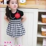 เดรสแขนสั้นลายตารางสีดำ 2012 new Korean summer girls dresses, short sleeve skirt checkered skirt